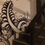 black white line mural