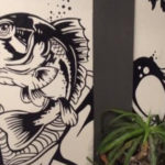 black white fish mural