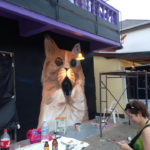 painting cats nightclub mural