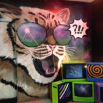 nightclub comedy cat mural