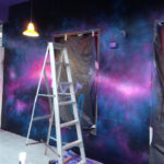 nightclub mural painting space background