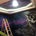 nightclub mural painting cats space interior