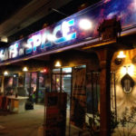 nightclub mural cats in space