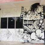 wall hostel mural outline