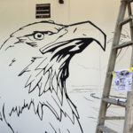 eagle hostel mural outline