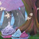 wonderland mural cupcakes