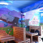 mad hatters tea party mural