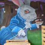 tea party white rabbit mural