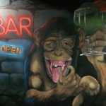 hostel monkey bar mural