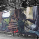 dinosaur jungle mural