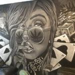 black white mural