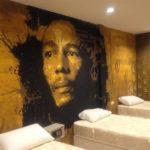 Bob Marley hostel wall mural