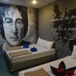 John Lennon hostel wall mural