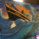 rough seas boat mural