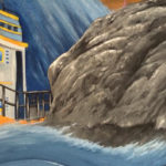 rough seas rocks mural