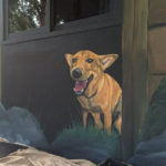 yawning dog mural