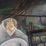 hostel monkey mural