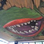 hostel horror plant mural