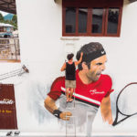 painting tennis player