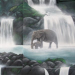 elephant waterfalls mural