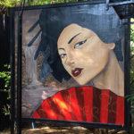 live painting woman fan