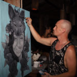 live painting woman wolf