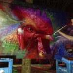 chicken live action painting
