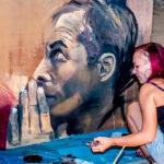 mans face live art